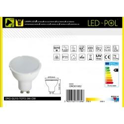 Lâmpada LED GU10 230V 3W 6500K (branco frio) 230lm - LED-POL ORO-GU10-TOTO-3W-CW